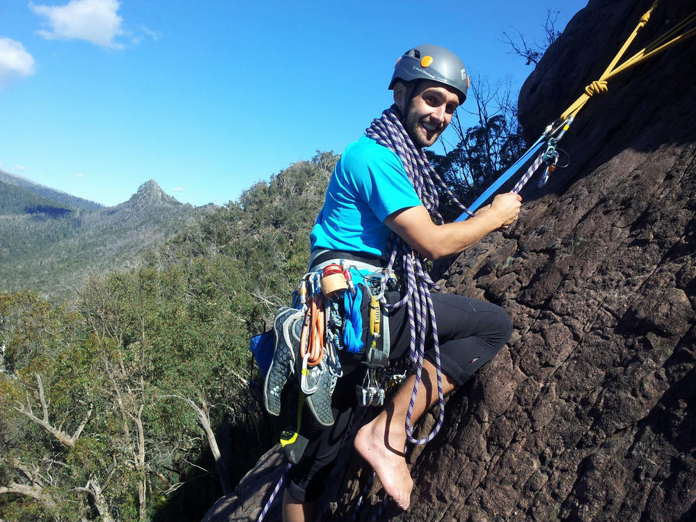 Egil on his first multipitch lead at the Cathedral Ranges