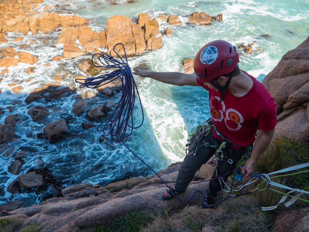 Abseiling at Cape Woolamai (Photo Credit: Sam Thompson)