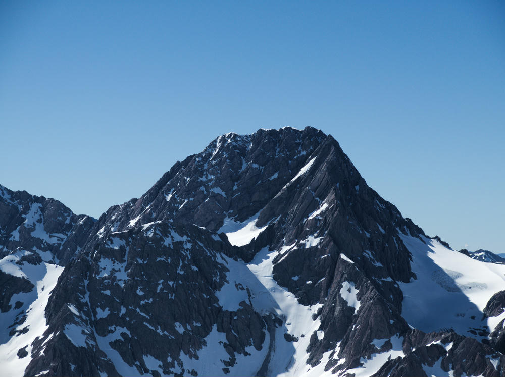 Looking up along the West Ridge of Malte Brun. Bonney/Malte col in the center.