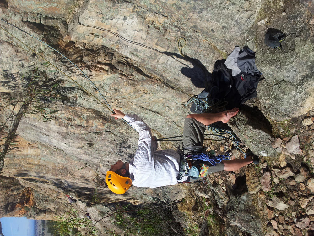 Richard belaying with style at Werribie Gorge