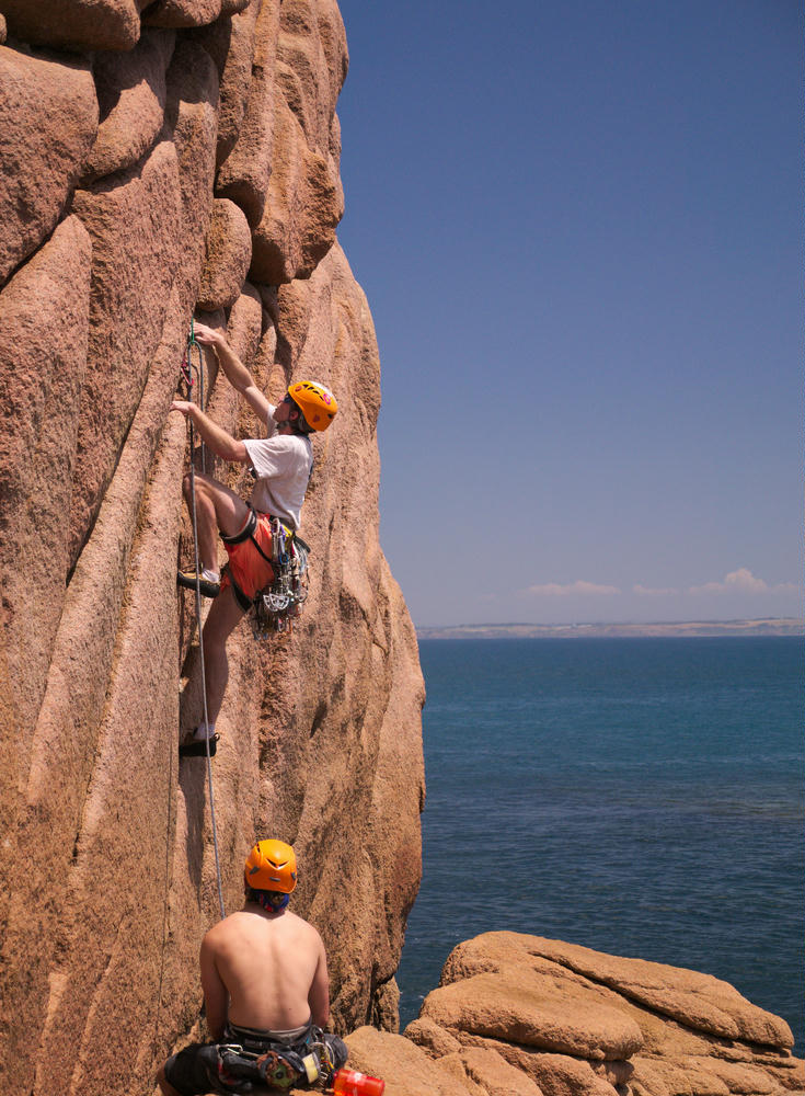 Climbing at Cape Woolamai
