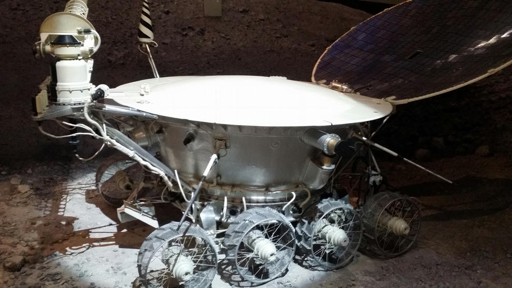 Lunakhod exhibit in the Museum of Cosmonautics, the first Lunar rover. Some of its testing was apparently conducted on Tolbachik volcano in Kamchatka!