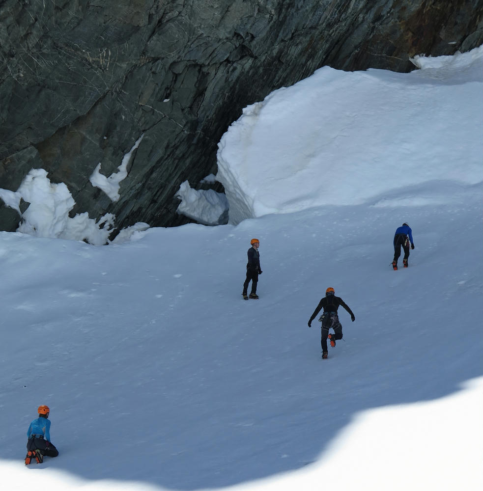Practicing in crampons on the first day